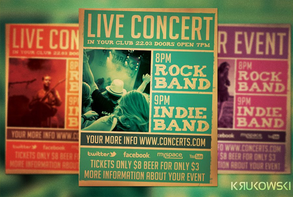 Rock Band Live Concert Flyer Template