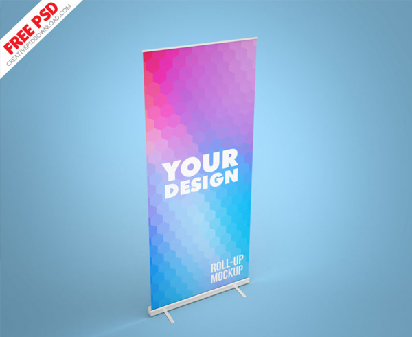 Roll-up Mockup Banner Free PSD