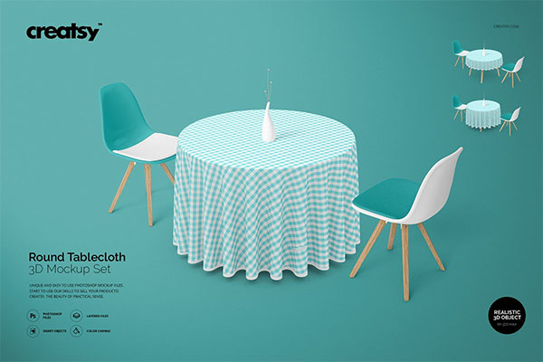 Round Tablecloth Mockup Set
