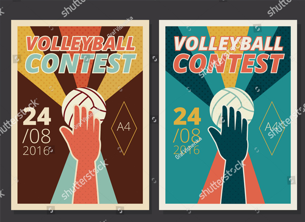 Set of Volleyball Flyer Design Template