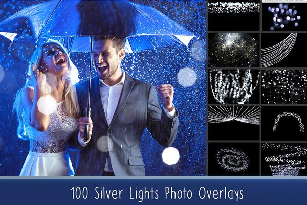 Silver Lights Photo Overlays