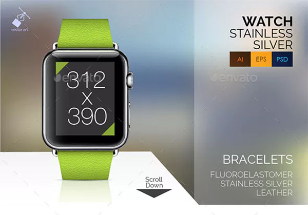 Smart Watch Stainless Vector Mockup Set