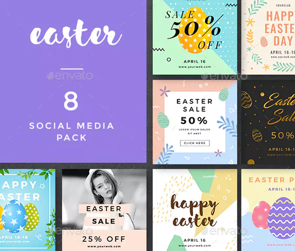Social Media Easter Banners Pack