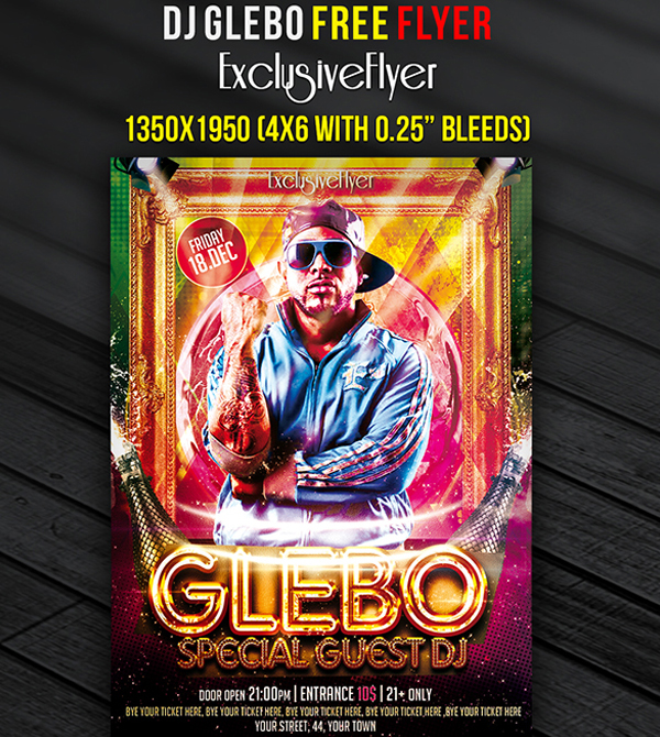 Special Guest DJ Glebo Free Club and Party Flyer