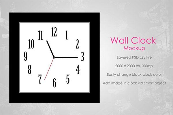 Square Wall Clock Mockup