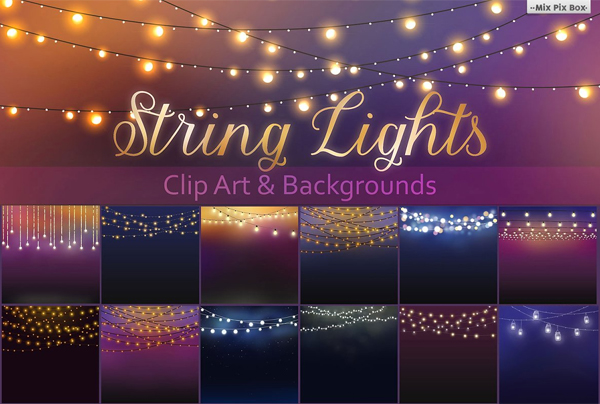 String Lights Clipart Overlays