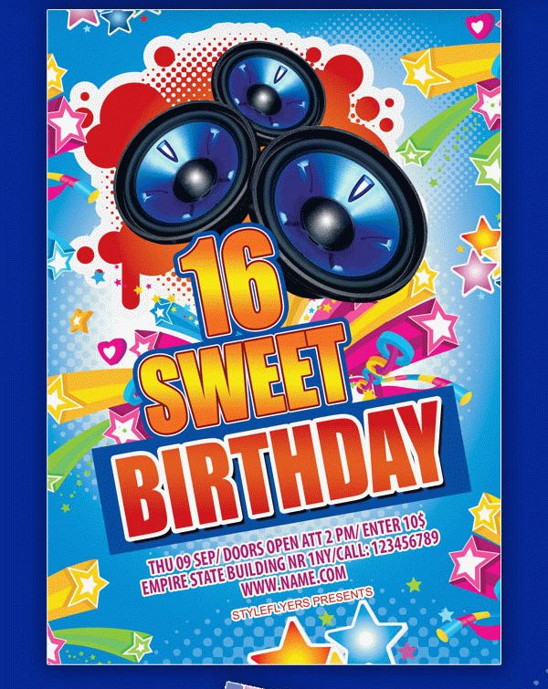 Sweet 16 Birthday Party Flyer