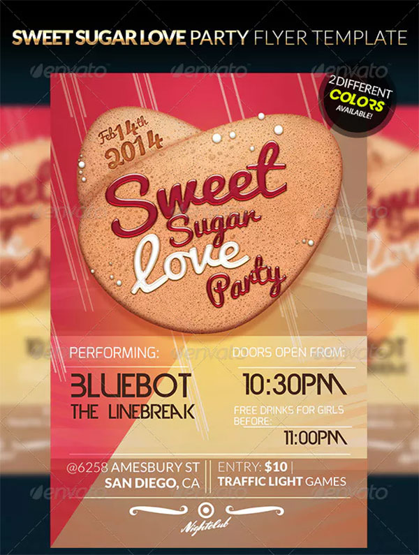 Sweet Sugar Love Party Flyer Template