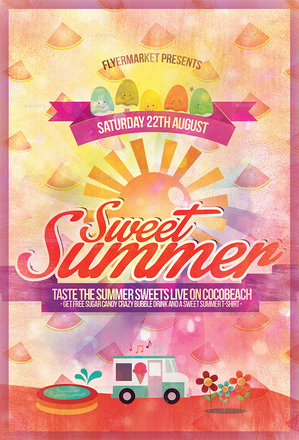 Sweet Summer Party Flyer Template