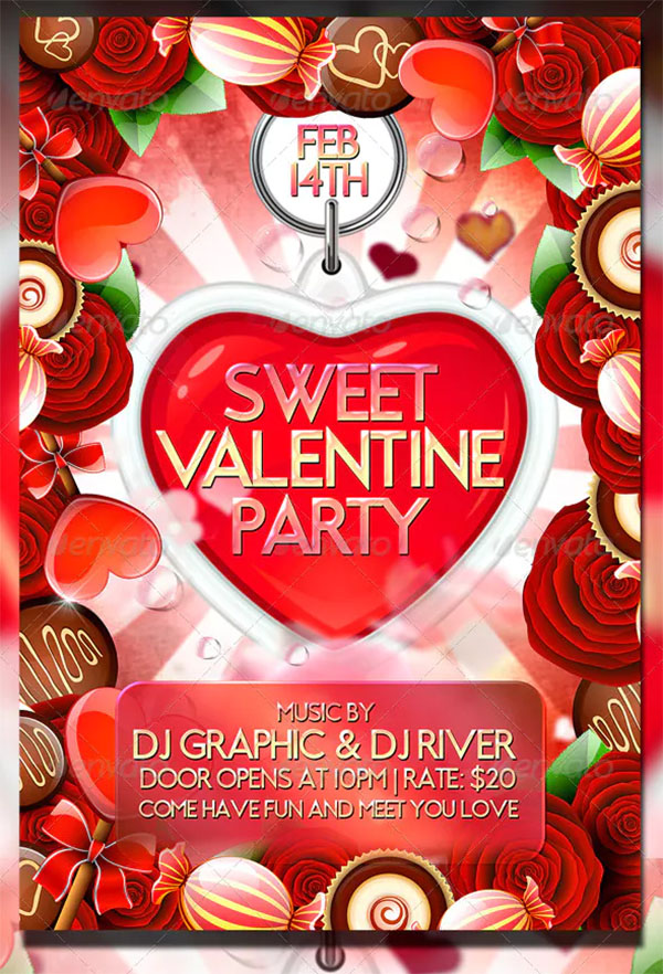 Sweet Valentine Party Flyer Template