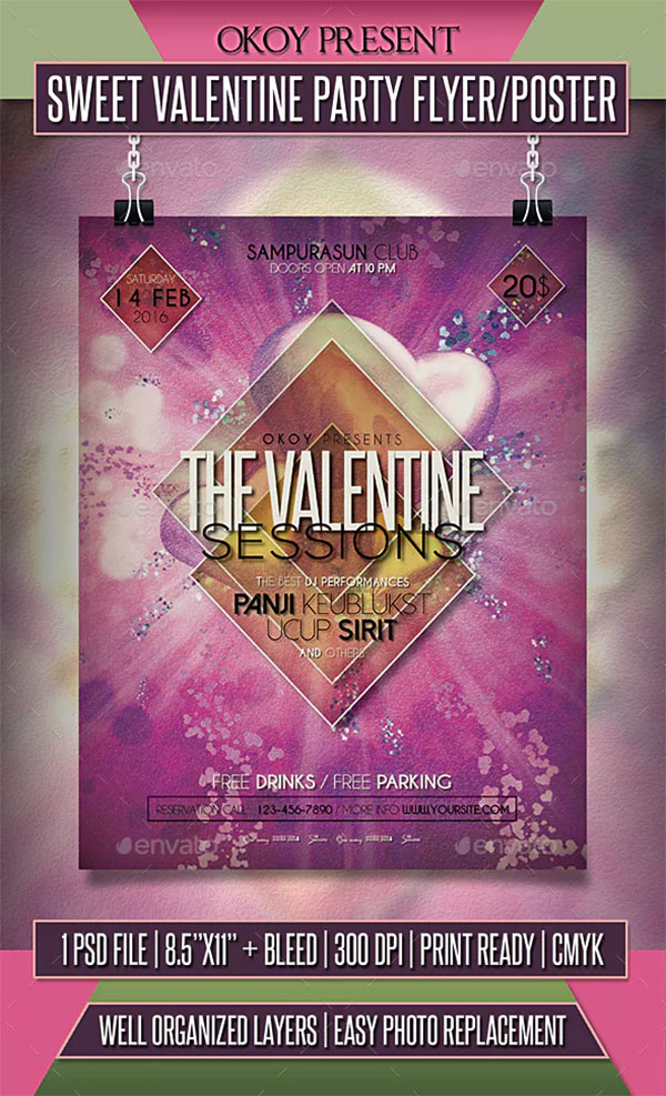 Sweet Valentine Party Flyer and Poster