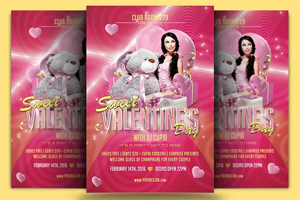Sweet Valentine's Day Flyer Template