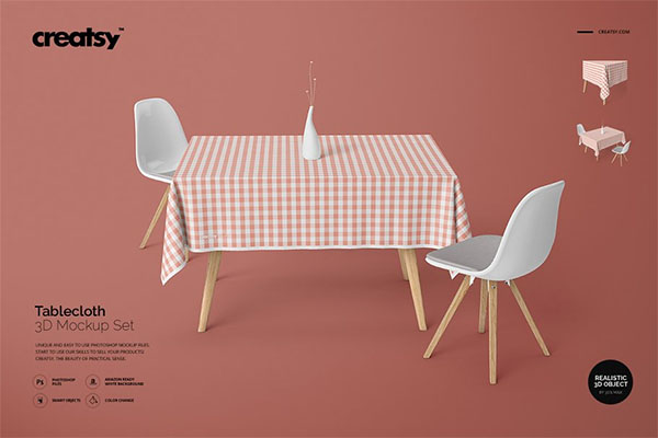Tablecloth Mockup PSD Set Design