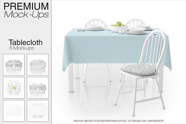 Tablecloth Mockup PSD Set Template