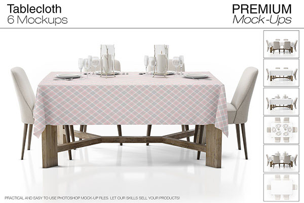 Tablecloth Mockup Set Design Template