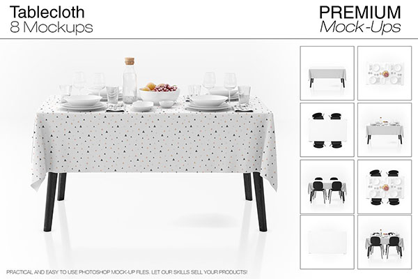 Tablecloth PSD Mockup Set Design