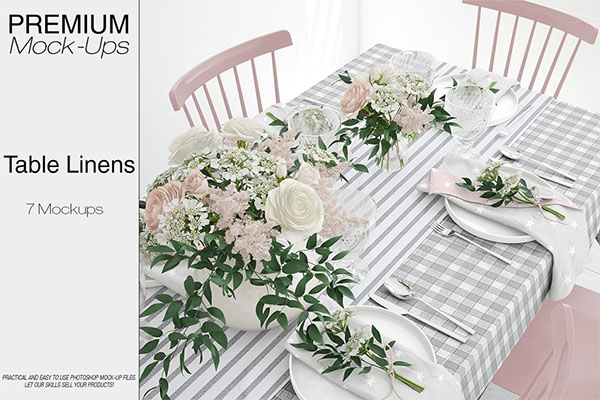 Tablecloth, Runner & Napkins Mockup