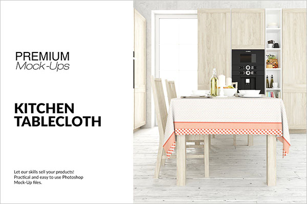 Tablecloth and Kitchen Mockup Set Design