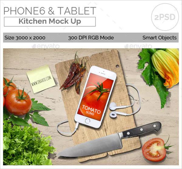 Tablet Kitchen Mockup