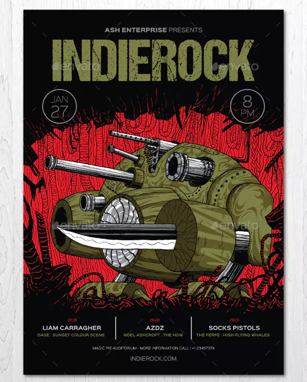 Tank Robot Indie Band Flyer
