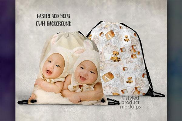 Two Sided Drawstring Bag Mockup