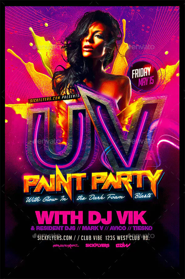 UV Paint Party Flyer Template