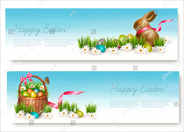Vector Easter Banners with Eggs