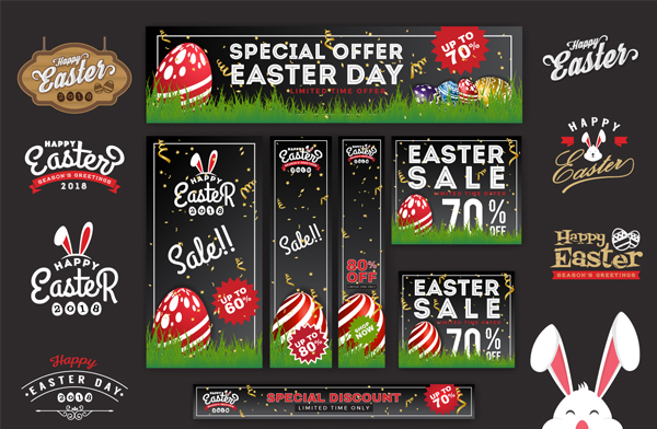 Vector Illustration Easter Sale Banners