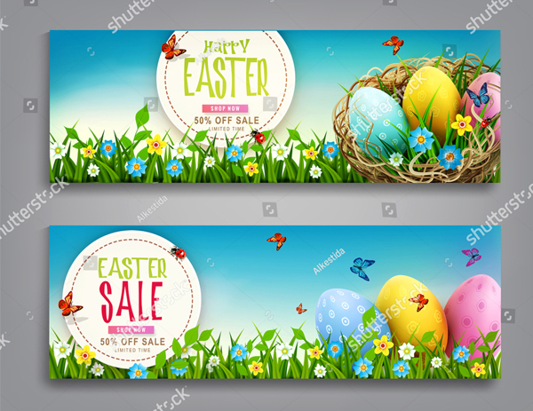 Vector Set Easter Vintage Sale Banner
