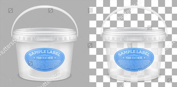 Vector Transparent Empty Plastic Bucket Mockup