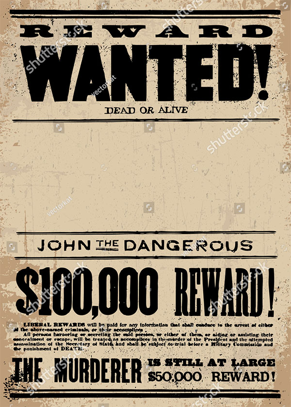 Vector Vintage Wanted Poster Template