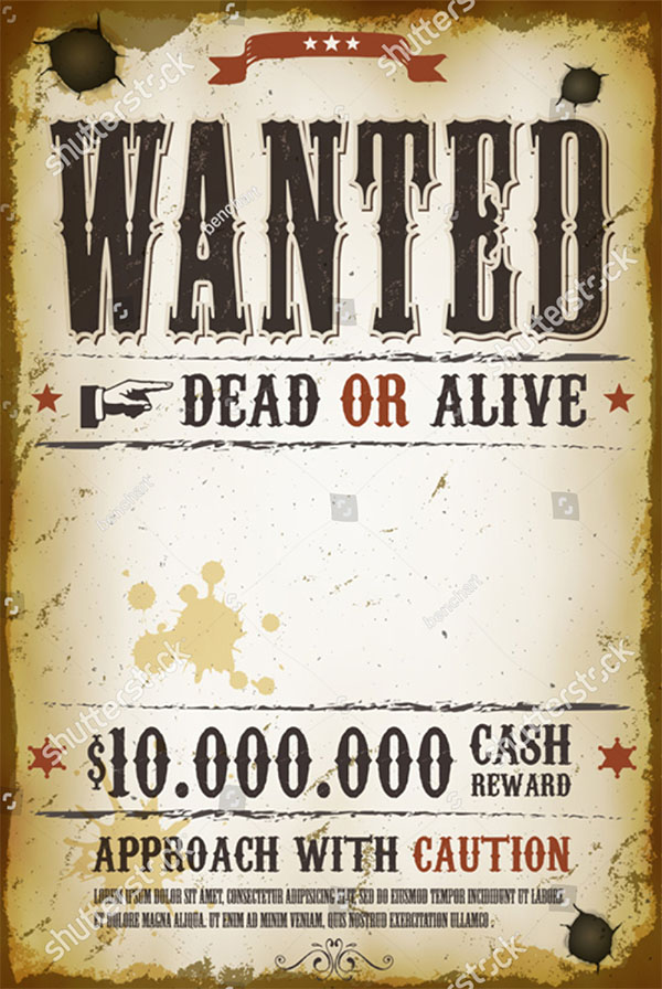 Vector Wanted Vintage Western Poster