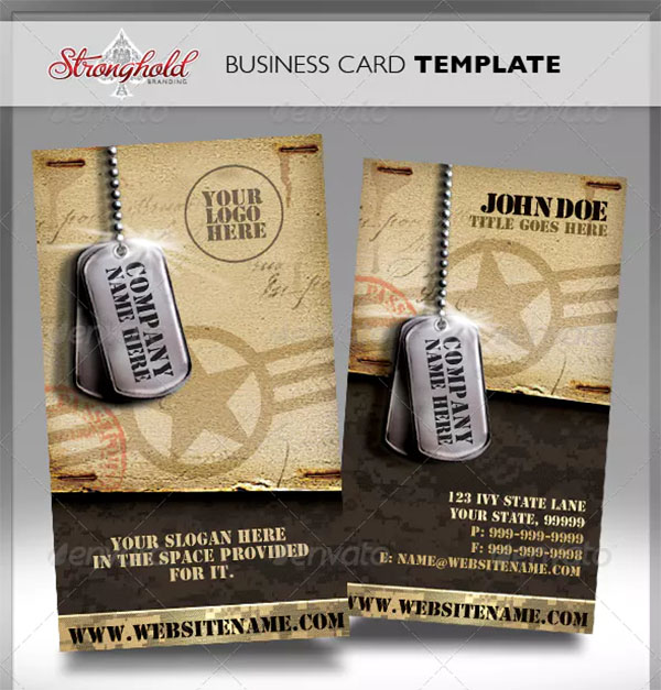 Vintage Military Business Card Template