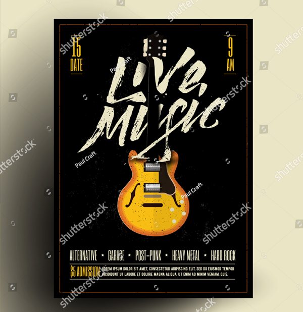 Vintage Styled Retro Live Rock Music Party Flyer Template