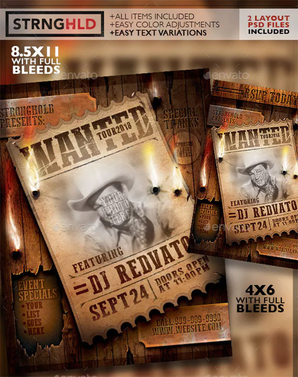 Vintage Wanted Poster Flyer Template