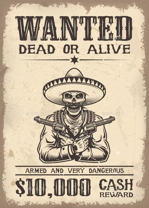 Vintage Wild West Wanted Poster Template