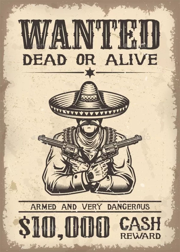 Vintage Wild West Wanted Poster