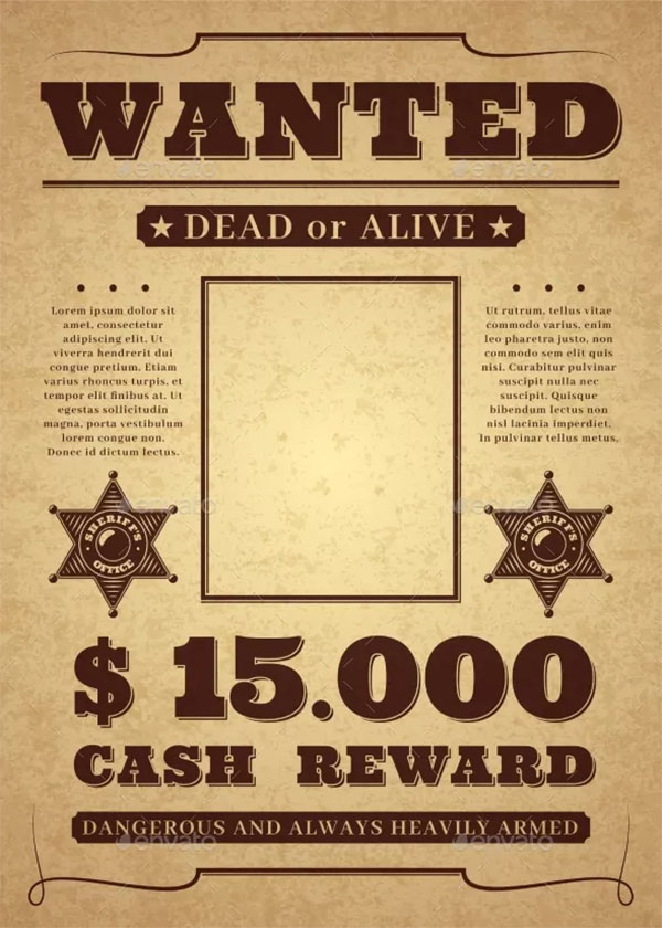 Wanted Old Distressed Western Criminal