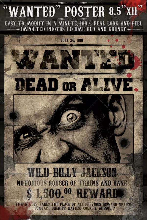 Wanted Poster Photoshop Template