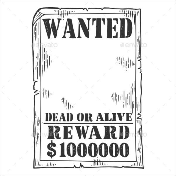 Wanted Poster Template Engraving Vector
