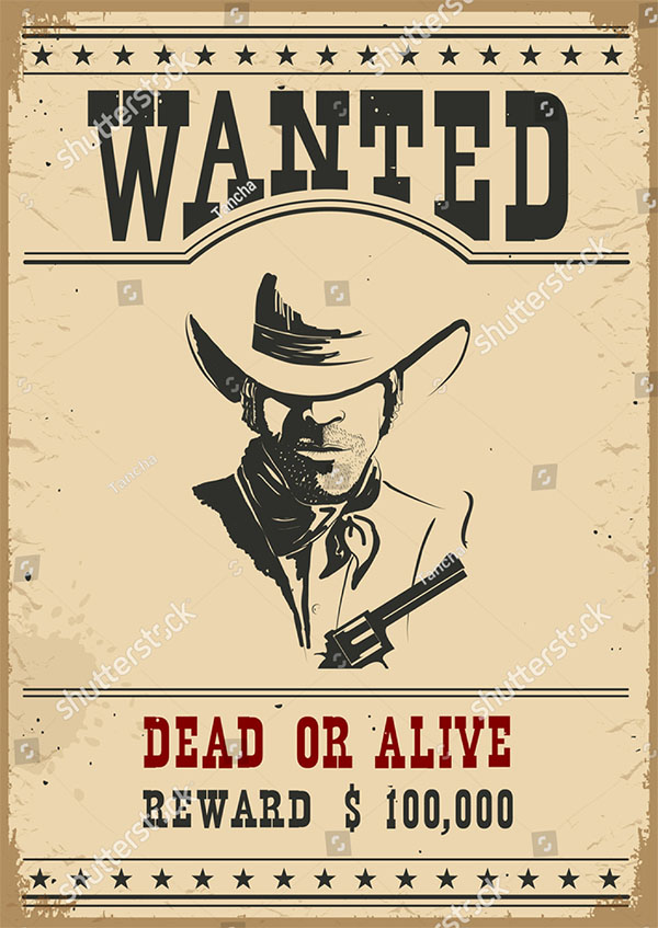 Wanted Poster Western Vintage Paper