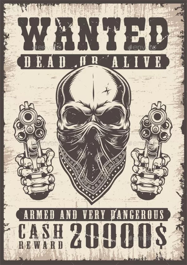 Wanted Vintage Poster Design Template