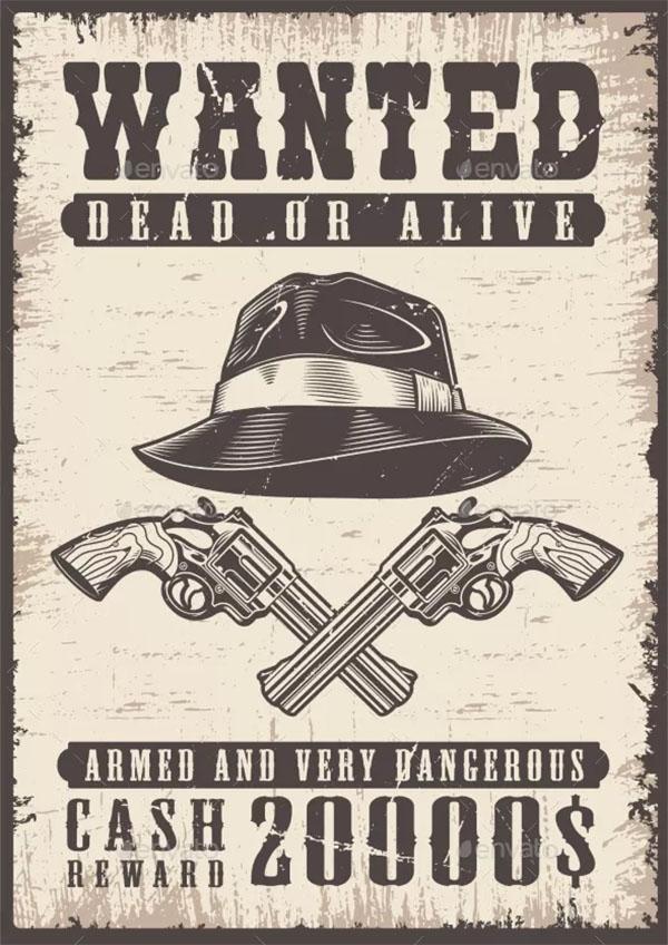 Wanted Vintage Poster Design