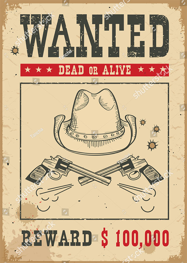 Western vintage Vector Wanted Poster