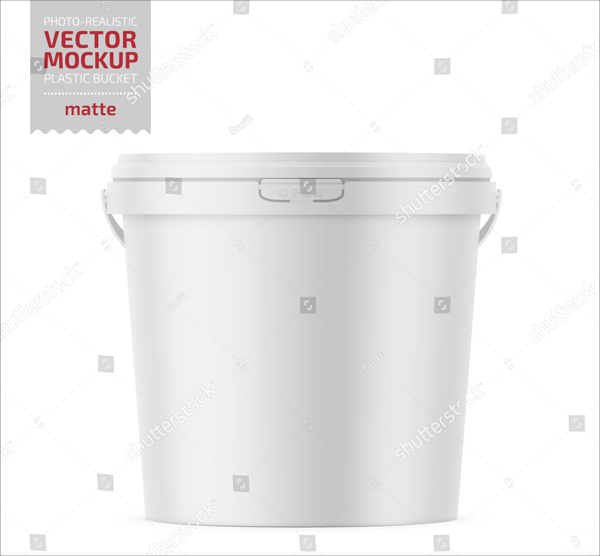 White Matte Plastic Bucket Mockup for Food Products