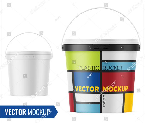 White Plastic Bucket for Food Packaging Mockup