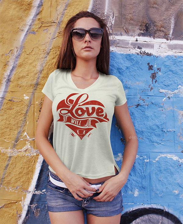 Woman T-Shirt Mockup Template