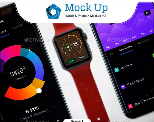 iWatch & Phone X Mockup Design