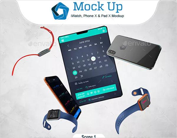 iWatch, Phone X & Pad X Mockup