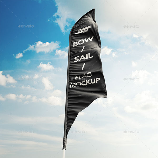 3D Feather Flags, Bow and Sail Flag Mockup